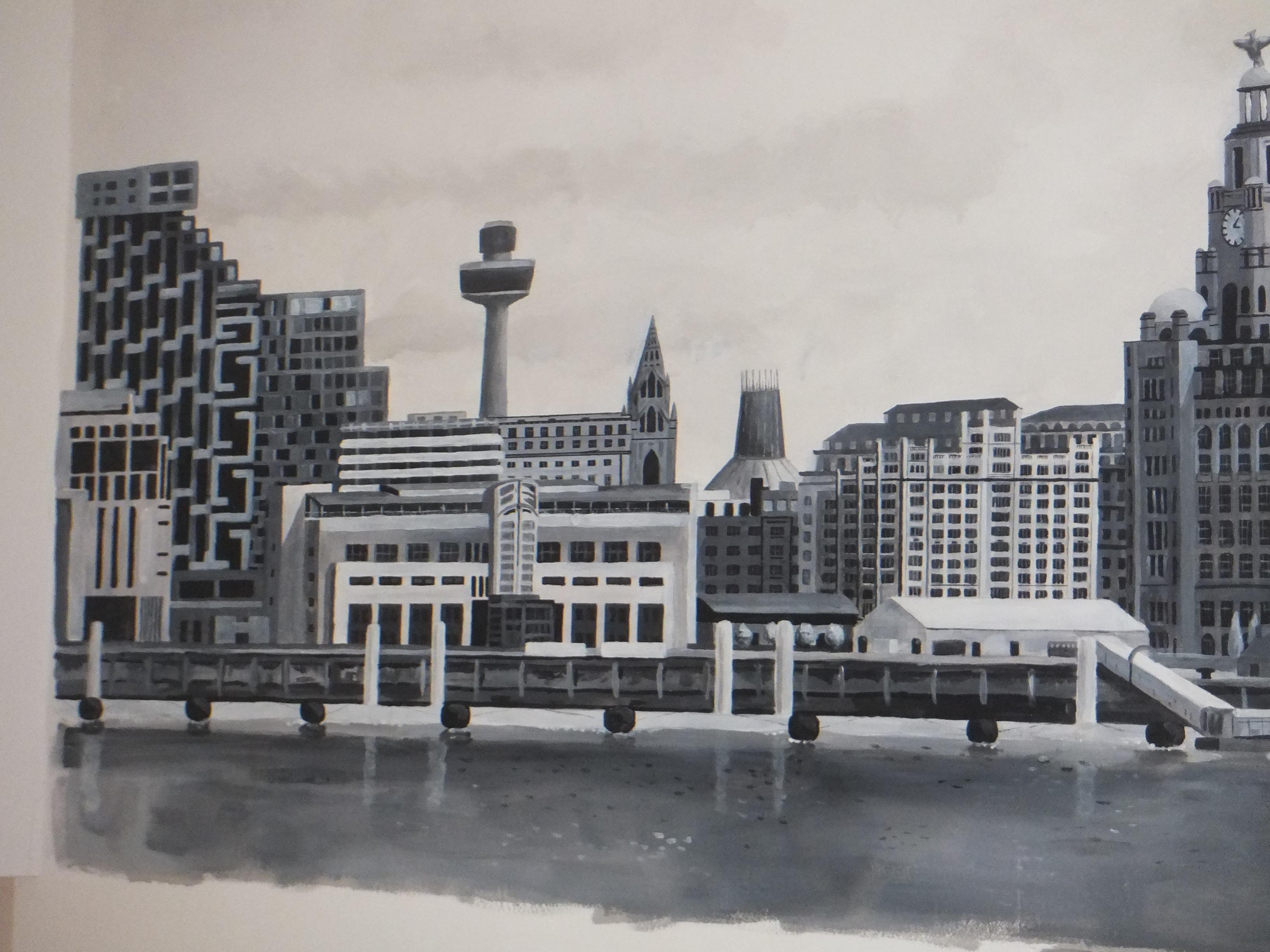 Pier head terminus Liverpool waterfront view mural