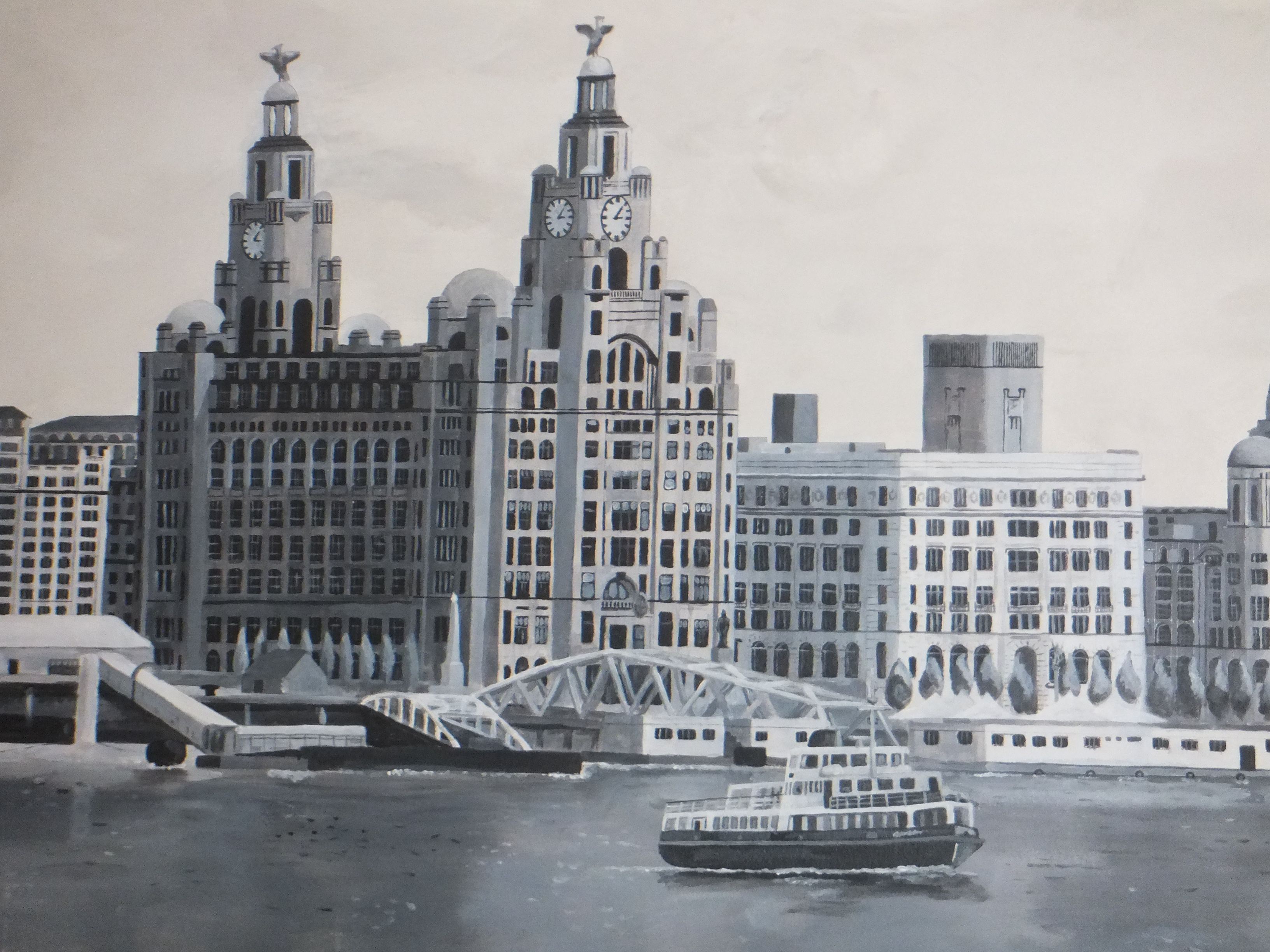 Ferry River Mersey Liverpool waterfront view mural