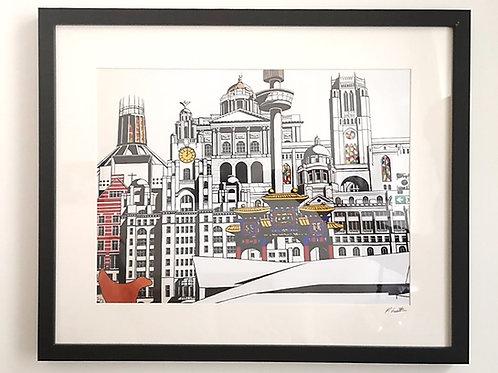 Liverpool City Black and White (ish) 2 Print