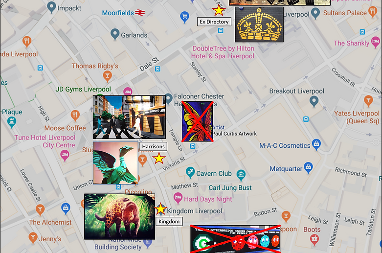 Top end of Liverpool Mural Map