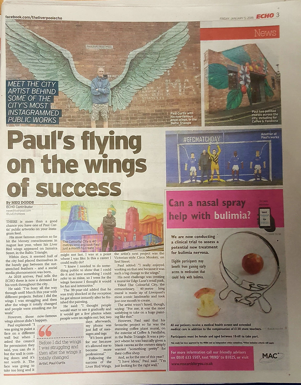 Artist Paul Curtis in the Liverpool Echo