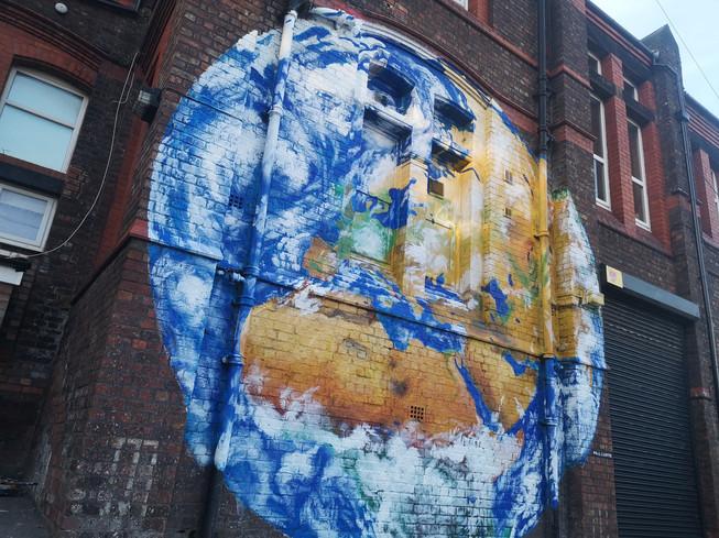 Close up, Earth mural, Paul Curtis