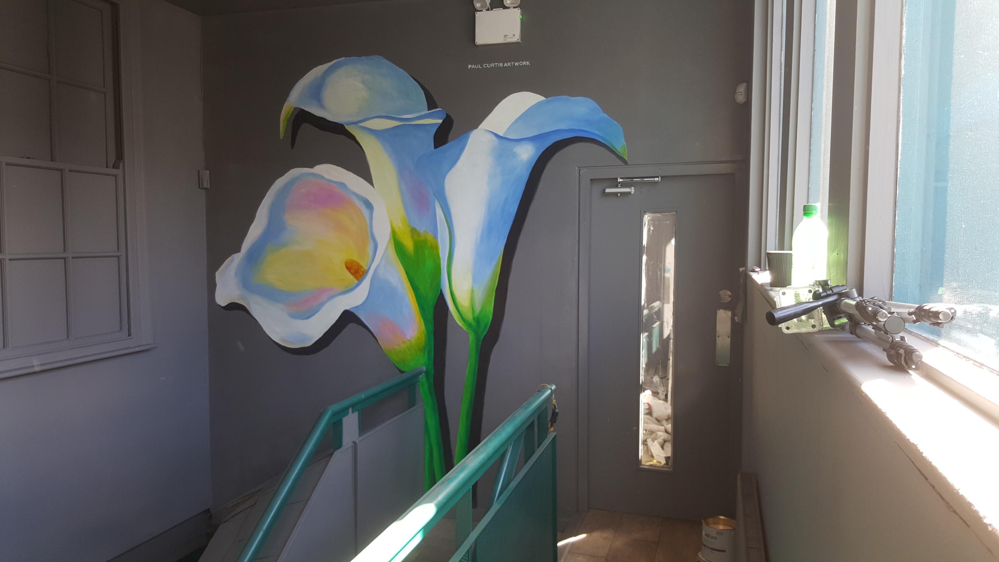 Three lilies mural at 53