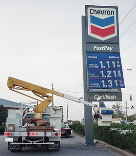Changing lamps in Chevron Pylon Sign