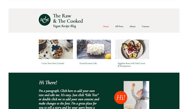 Blogi i fora website templates – Vegan Recipe Blog