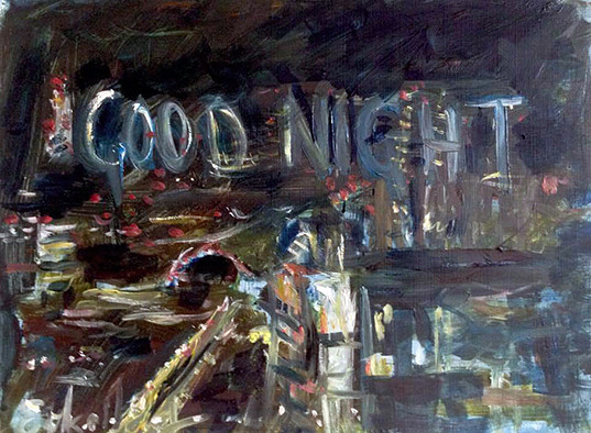 'Good Night' oil on canvas on wood, 30 x 40 cm, 2016. View from Balfron Tower.
