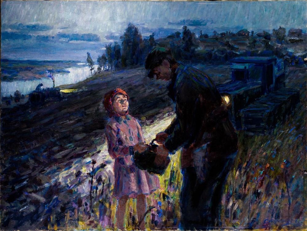 "Картина ""К отцу"" (1961 год. Холст Масло 100х76)"