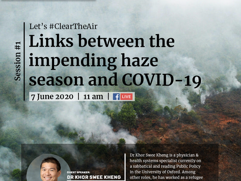 Links between the impending haze season and COVID-19