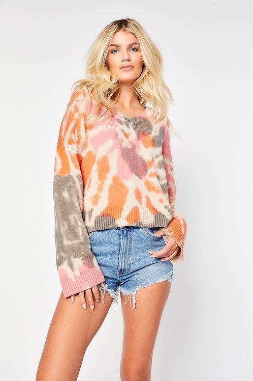 Tie dye boxy cropped sweater