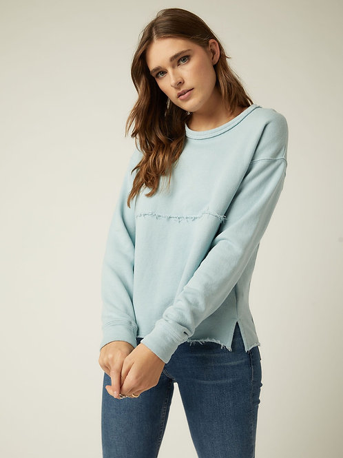 Raw seam sweatshirt in Aqua