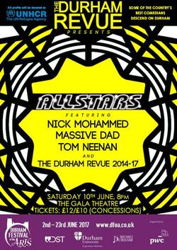 'The Durham Revue presents Allstars 2017' poster