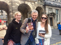 2014/15 Revue members David Knowles and Charlotte Whistlecroft with former Revue member and legend,