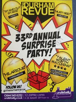 '33rd Annual Surprise Party' - 2011 Edinburgh Fringe Festival poster