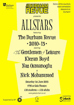 'Durham Revue presents Allstars 2013' poster