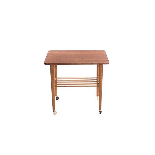 Cute side table in teak and elm on wheels