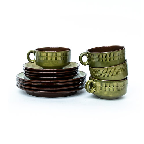 Vintage tea set in beautiful green colour from Sweden 1960s