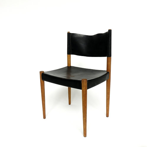 Vintage leather and solid oak chair with lovely patina from Sweden
