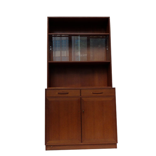 Retro 1960s teak bookshelf with glass cabinet from Sweden
