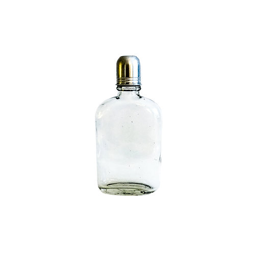 Vintage flask in glass with metal lid from Sweden early 1900s