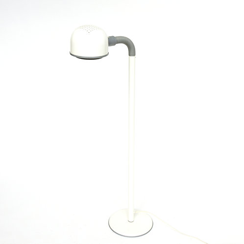 Retro Swedish metal floor lamp in white and grey from 1970s