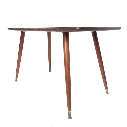 Retro 1950s small coffee table with brass feet from Sweden