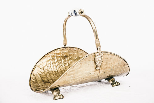 Antique Firewood Basket in brass and porcelain handle from Sweden early 1900s