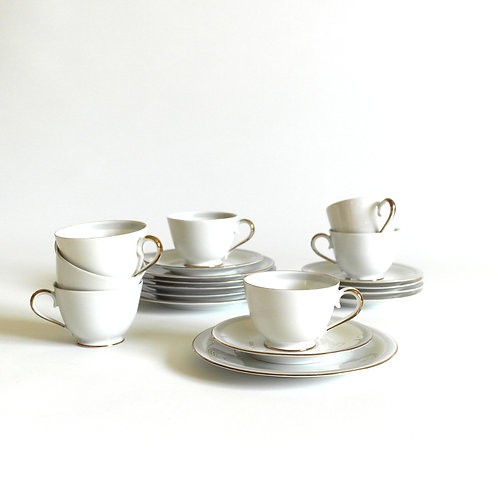 Hackefors Sweden coffee cups + saucers + plates. Grey and gold details