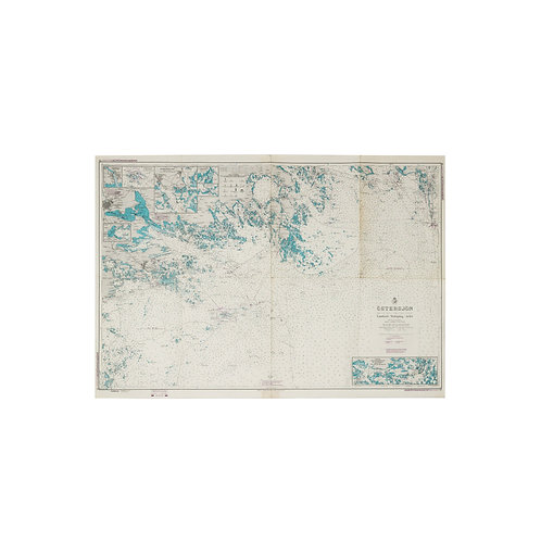 Large Nautical chart of Stockholm archipelago Sweden 1970s