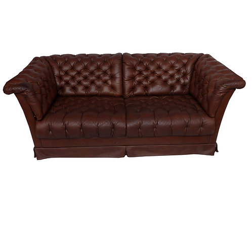DUX Oxford two seater leather sofa from Sweden late 1970