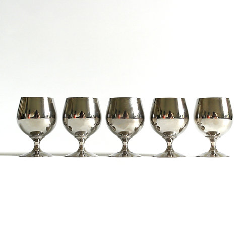 Antique silver plated small glasses from Sweden early 1900s set of five
