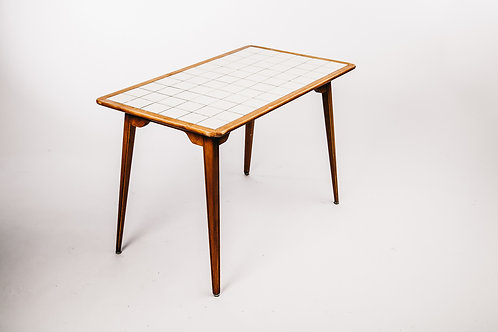 Birch table mid century with white tiles from Sweden