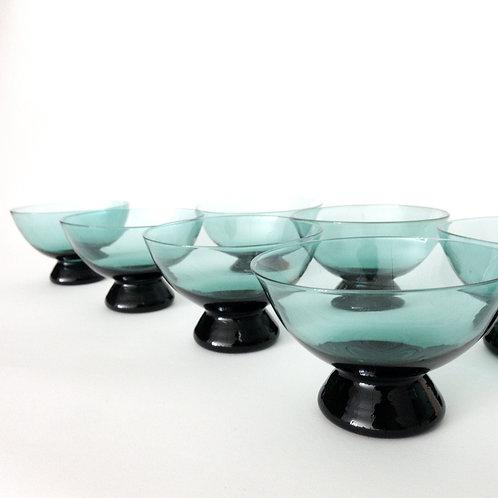Blue vintage Glass bowls set of 8 from Sweden 1960s