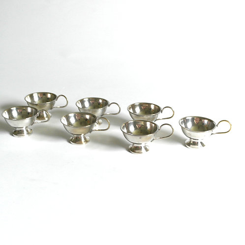 Antique silver plated punch glasses with handles from Sweden early 1900s