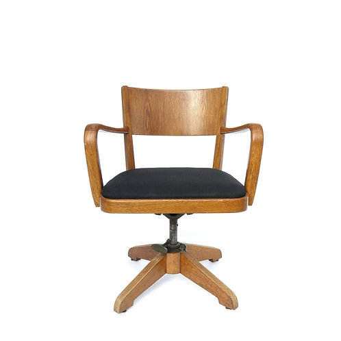 Stunning solid oak office chair from Sweden 1930s