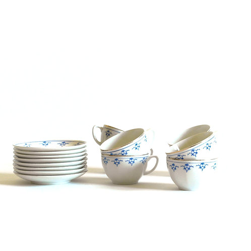 ALP Lidköping coffee set with blue and gold details from Sweden mid-century