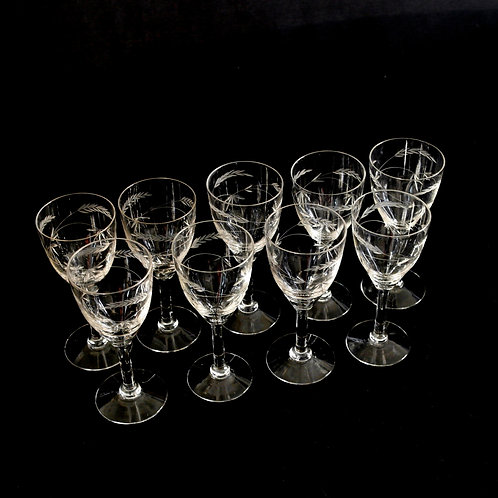 Antique sweet wine glasses in crystal with intarsia from Sweden early 1900s