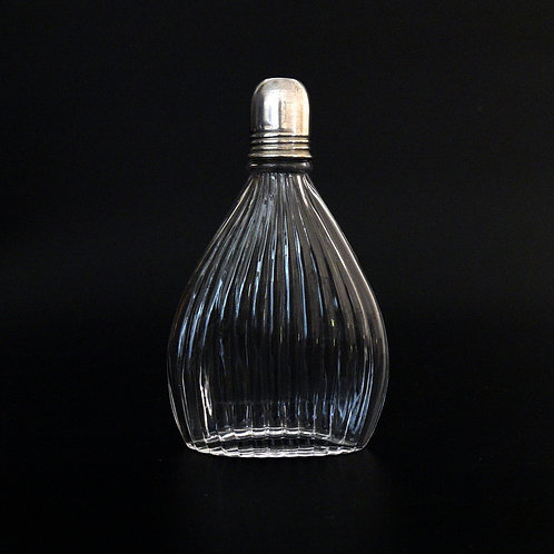 Vintage flask in glass and silver plated cap from Sweden mid-century