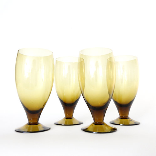 Retro brown glass wine glasses, set of four. From Sweden 1960s