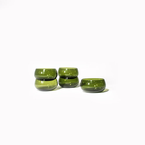 Swedish mid century green glass bowls/candle-holders