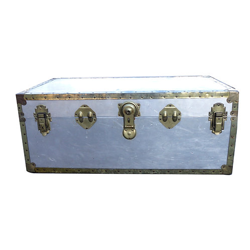 Early 1900s chest in aluminium and brass and leather details from Sweden