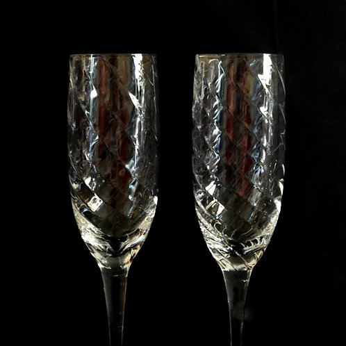 Stunning set of four crystal tall champagne glasses Sweden mid-century