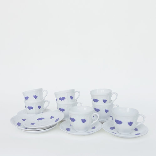 """""""Blå Blom"""" coffee cups and saucers from Gustavsberg Sweden mid-century"""