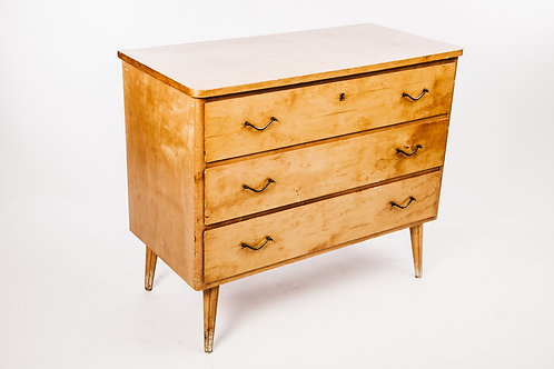 1930s Chest of drawers from Sweden in birch with brass handles
