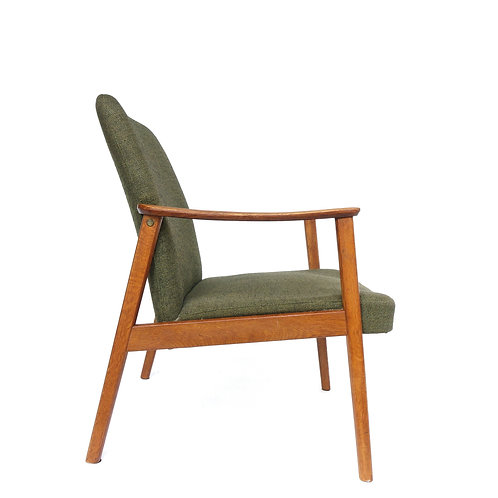 Retro upholstered solid oak armchair from Sweden 1960s
