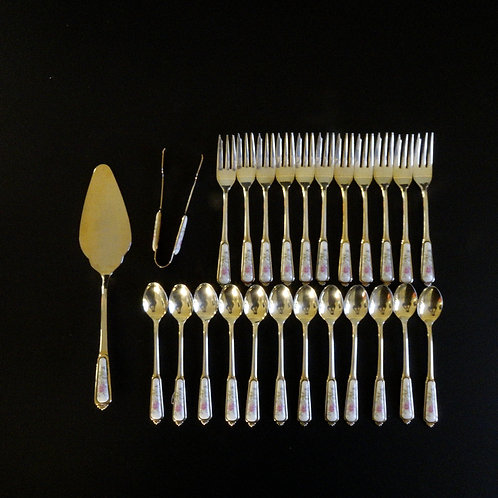Antique set of cake brass cutlery with porcelain details from Svaneholm Sweden