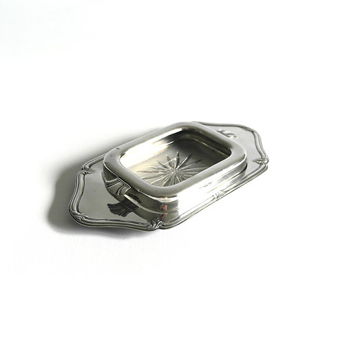 Antique silver plated butter bowl with glass container from Sweden early 1900s