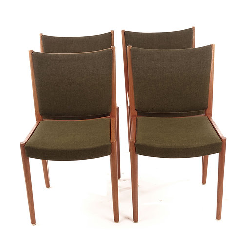 Upholstered retro chairs in solid teak and original wool fabric