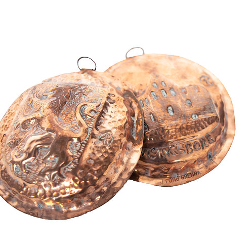 Antique Medallions in copper of Wisingsborg and West Götalands shield