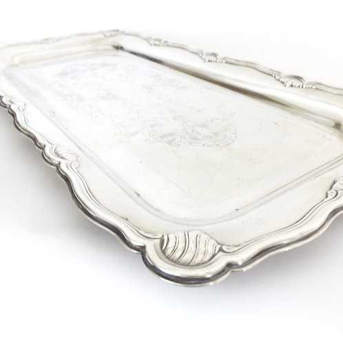 """GAB"" Antique silver plated rectangular tray from Sweden early 1900s"