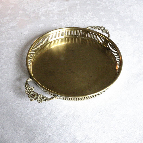 Antique brass small try with handles from Sweden early 1900s